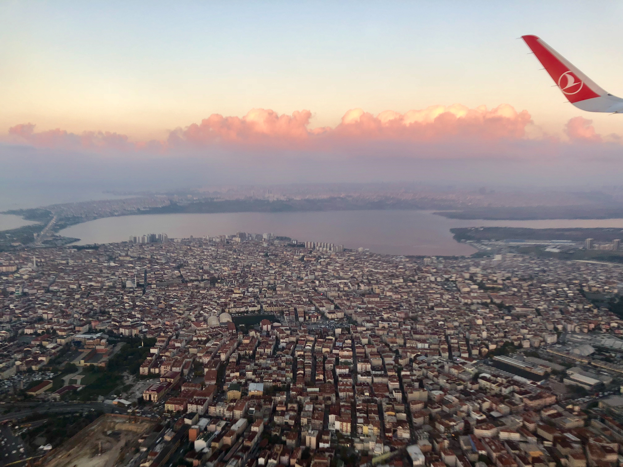 Flying over istanbul in the morning