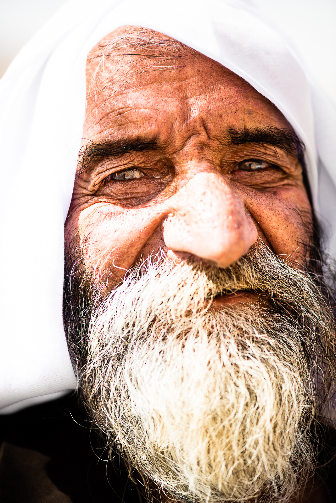 Old man with a yellow beard due to the smoking of cigarettes, mount Sinjar