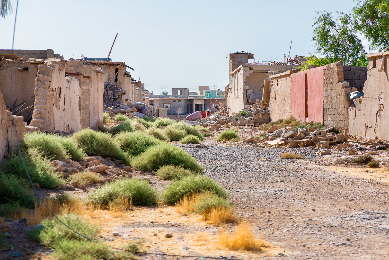A destroyed and abandoned village under the Sinjar mount were the Yazidi people lived