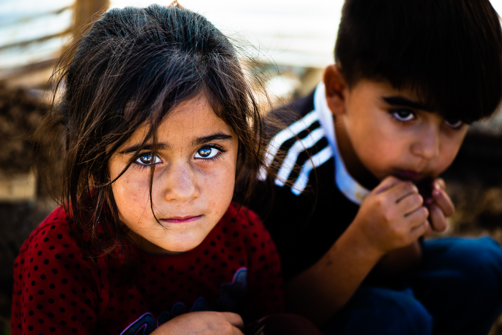Two orphans children in a unofficial refugees camp in Sharya, near Dohuk