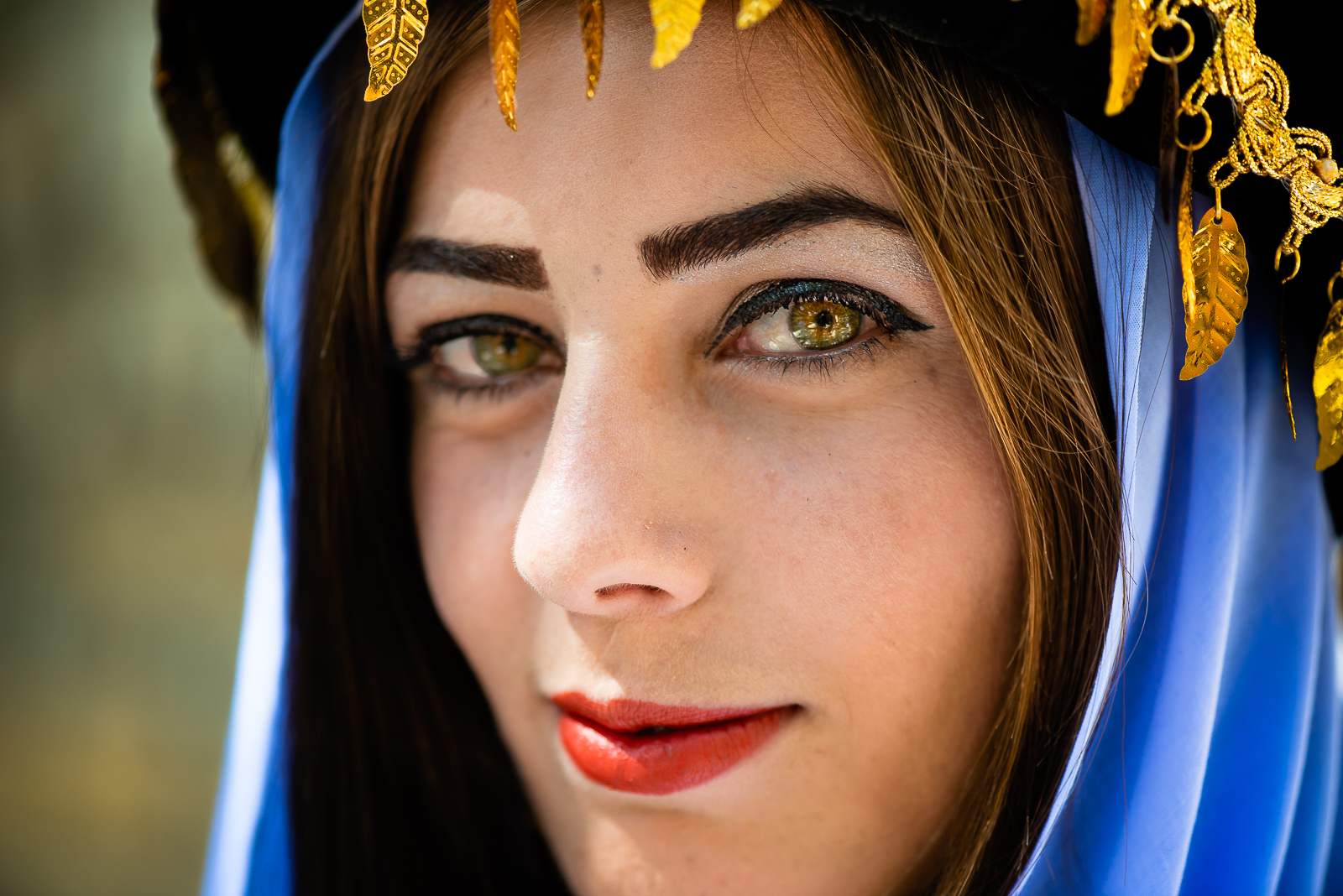 Girl dressed with typical Yazidi clothes in Lalish