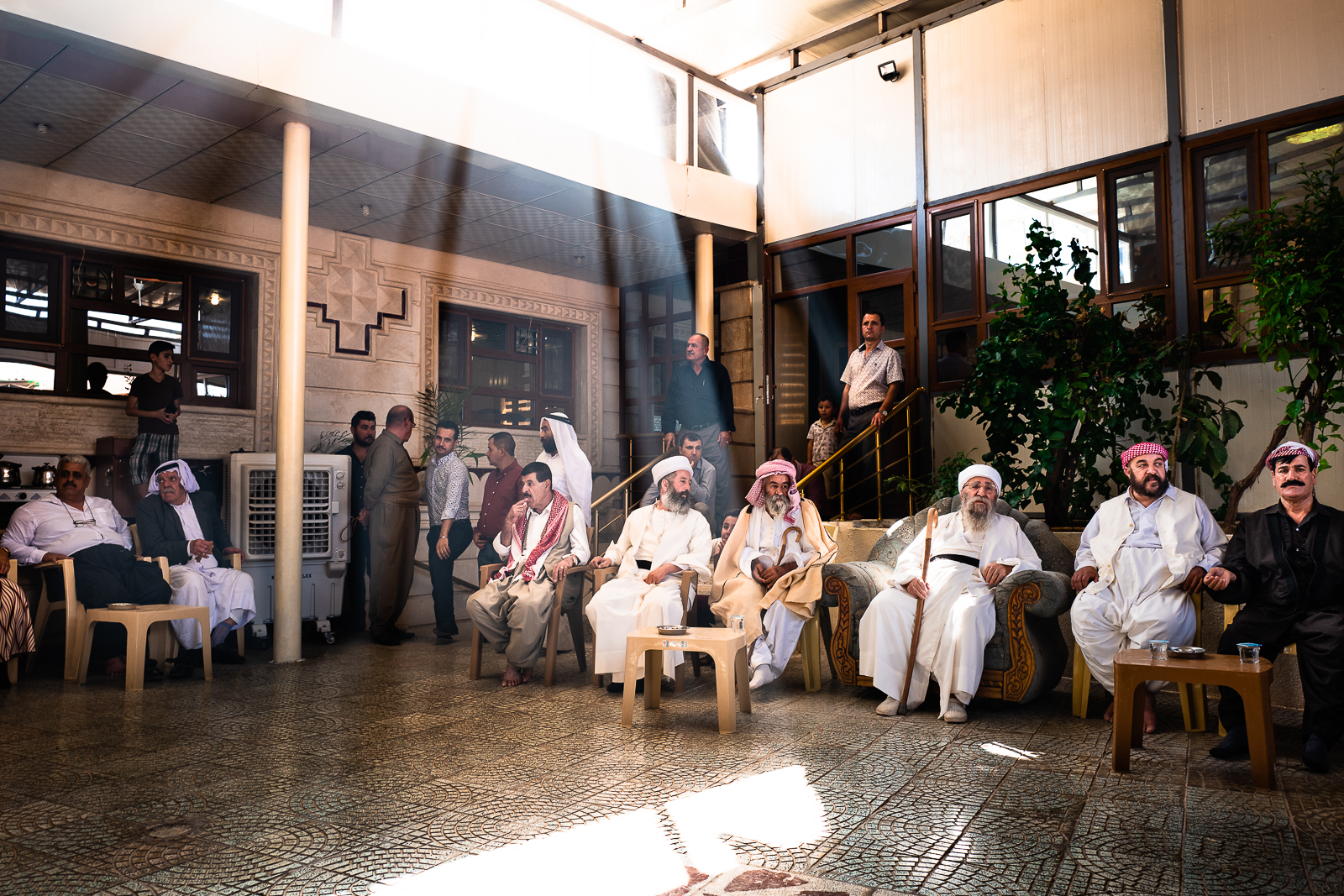 All the importan men of yazidi religion attending the start of Cejna Cemaiya festival at Baba Sheikh's house