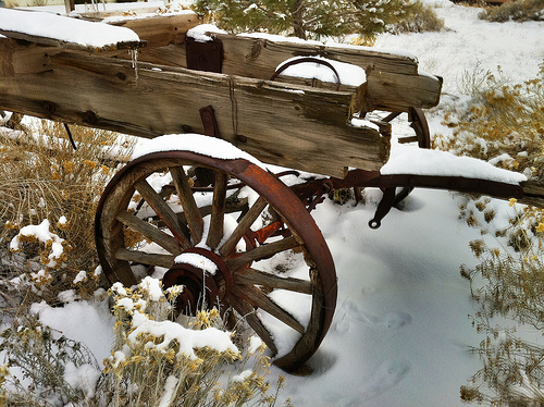 Wagon in the snow by    Rick Cooper  Creative Commons