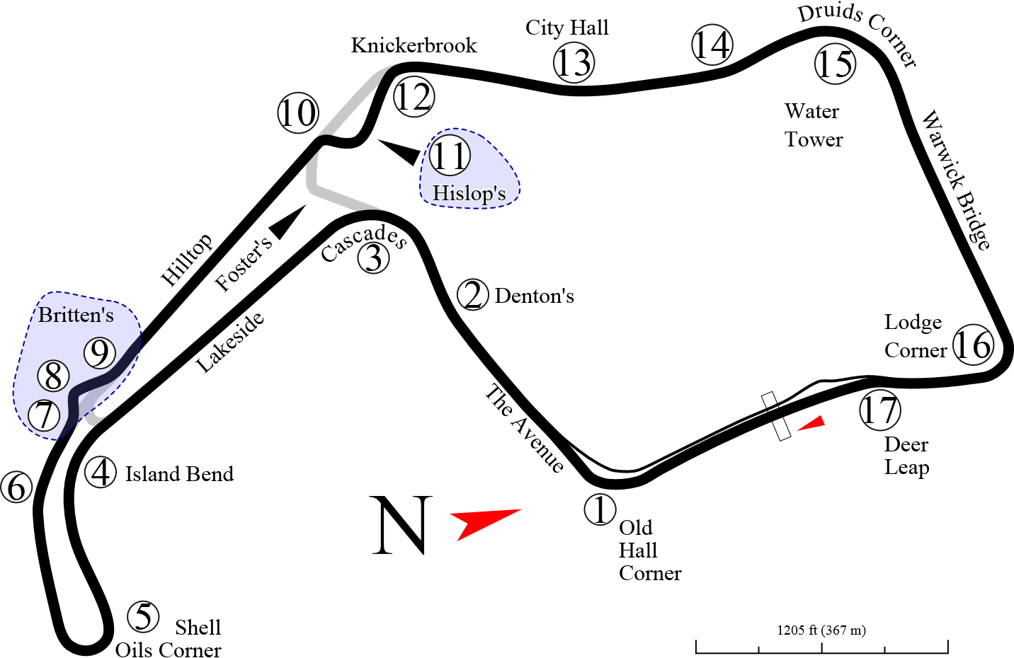 Oulton Park, een heel technisch circuit met veel hoogte verschil.