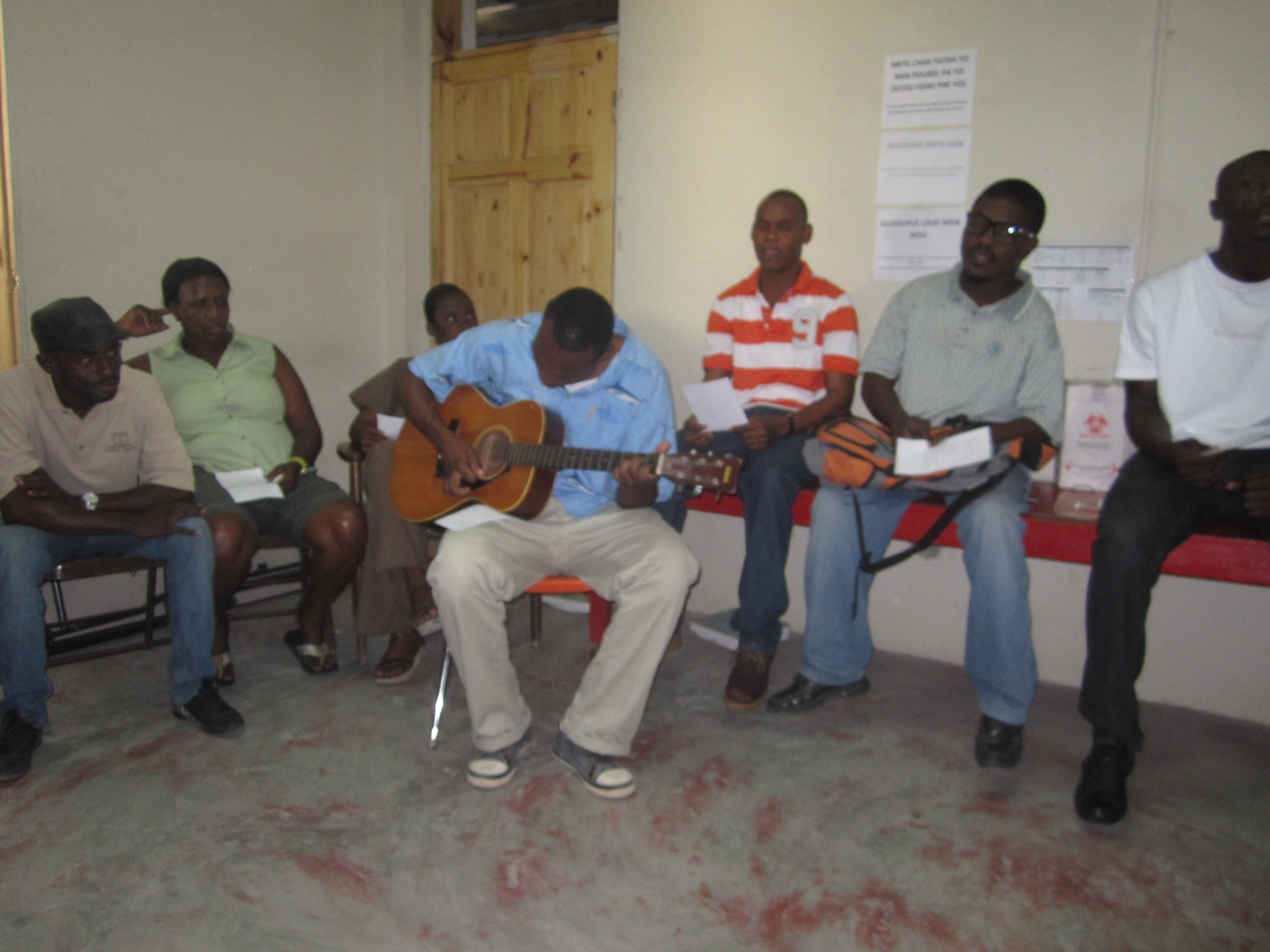 Devotions with the clinic staff