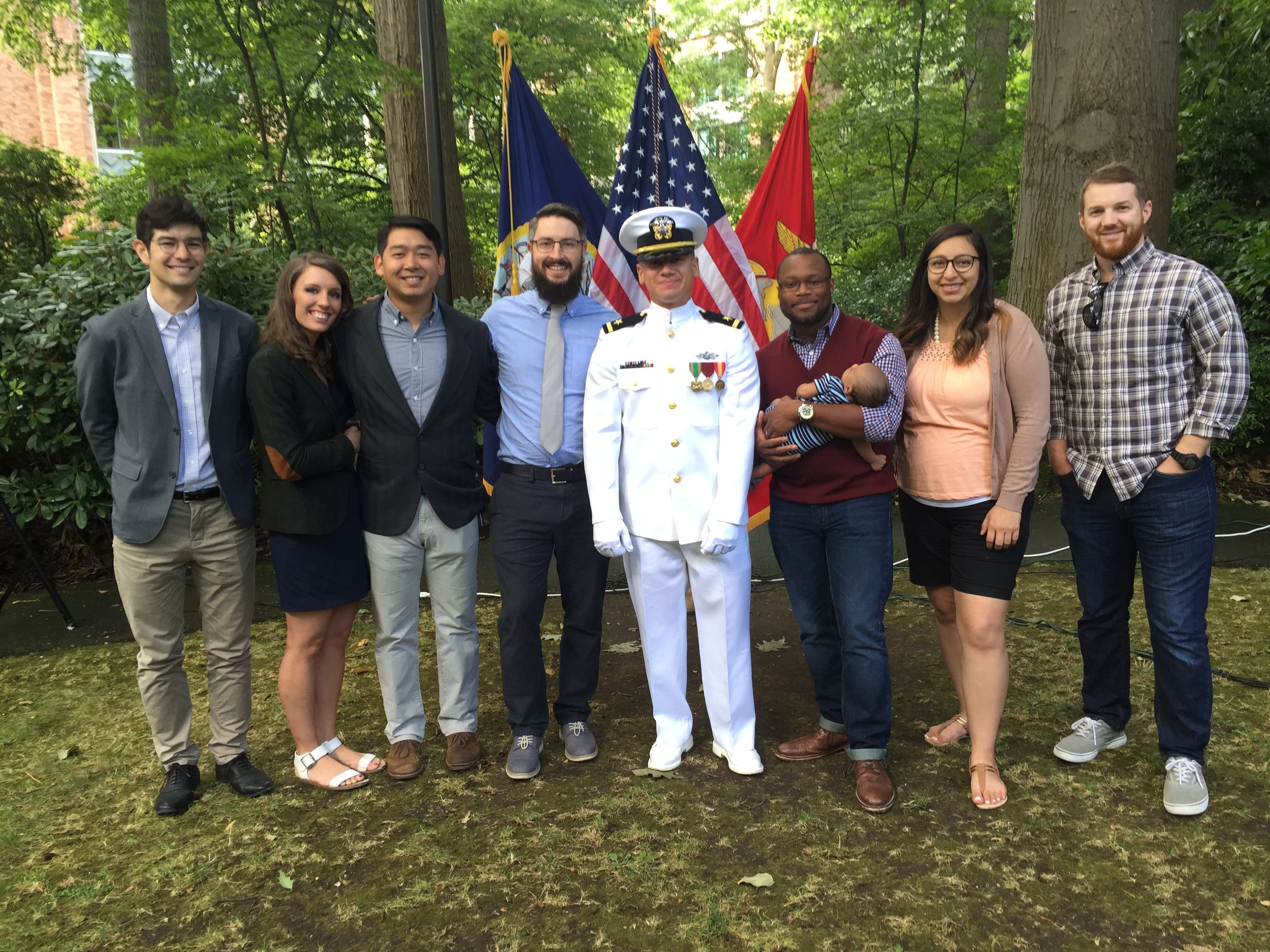 Pictured Above: Some of Ensign Spencer Vance's Hallows Church family rallying around him at his UW Naval ROTC Summer 2016 Commissioning Ceremony.