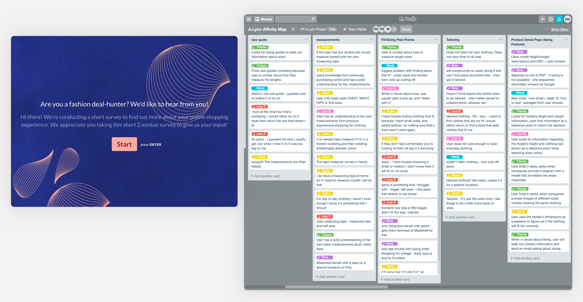 Left:   We created our screener survey using Typeform |   Right:   We used Trello to identify patterns and insights through affinity mapping