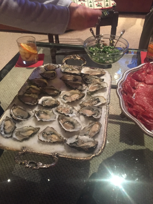 Shown here: oysters and an Old Fashioned, two quality Christmas traditions in my family.