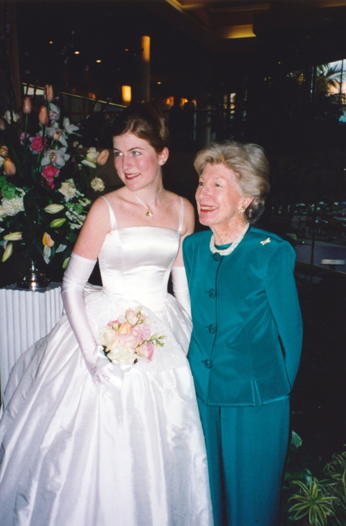 Me as a debutante with my grandma in 2000.  We bought the dress in the bridal department of Saks, which was... bizarre.