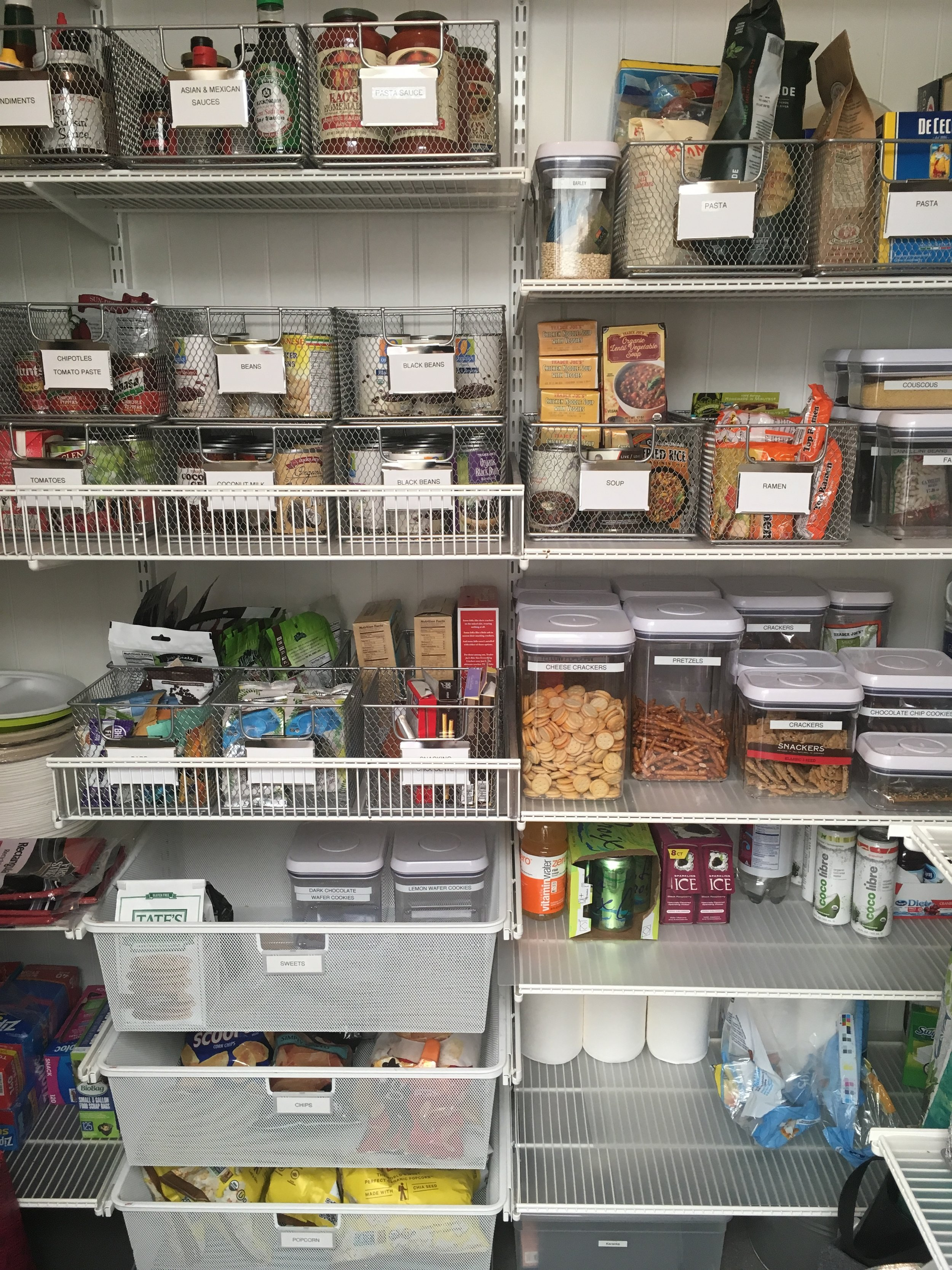 The first pantry I ever organized - nicely labeled and containerized, but still very functional!