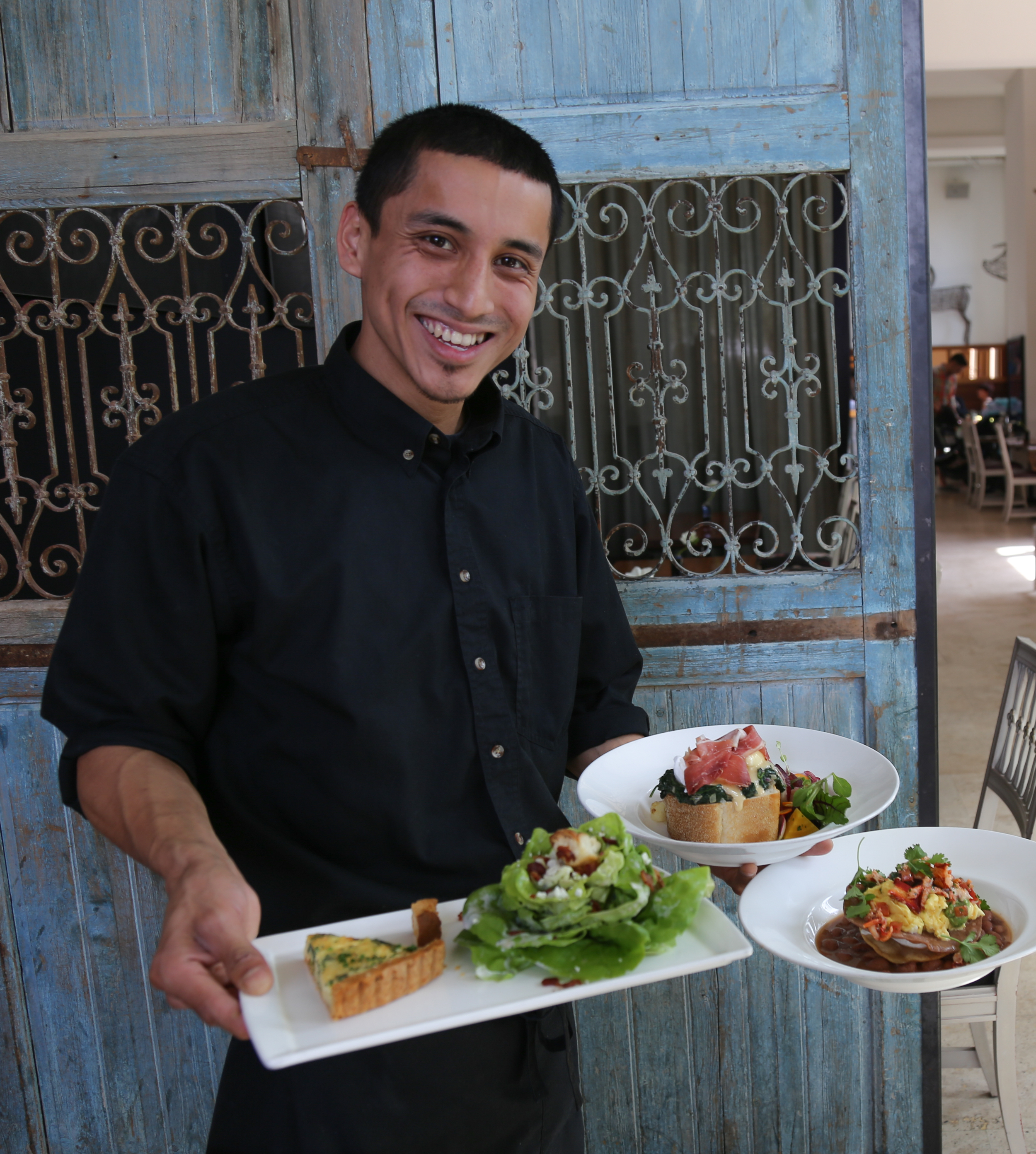 Omar with Quiche Florentine & Baby Hearts of Romaine Salad, Eggs Benedict with Prosciutto di Parma, Lobster Huervos Rancheros