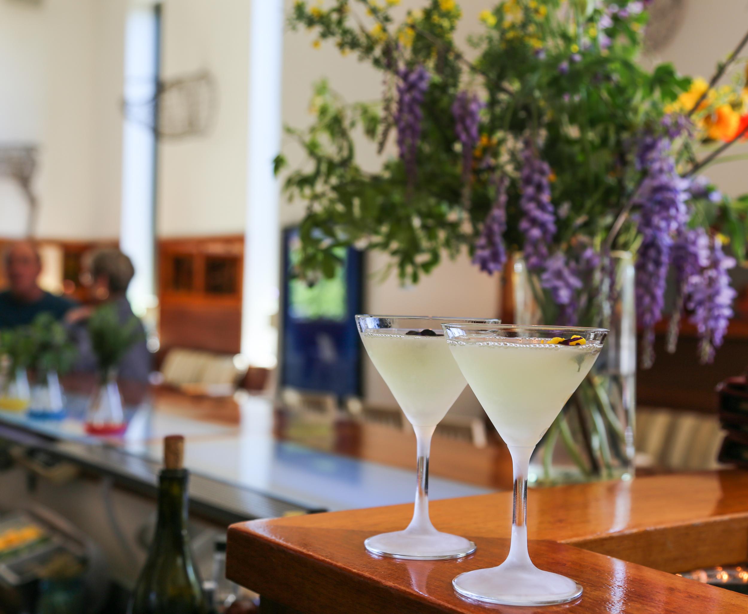 """Funny Face"" cocktails; Barndiva Farm lilics"