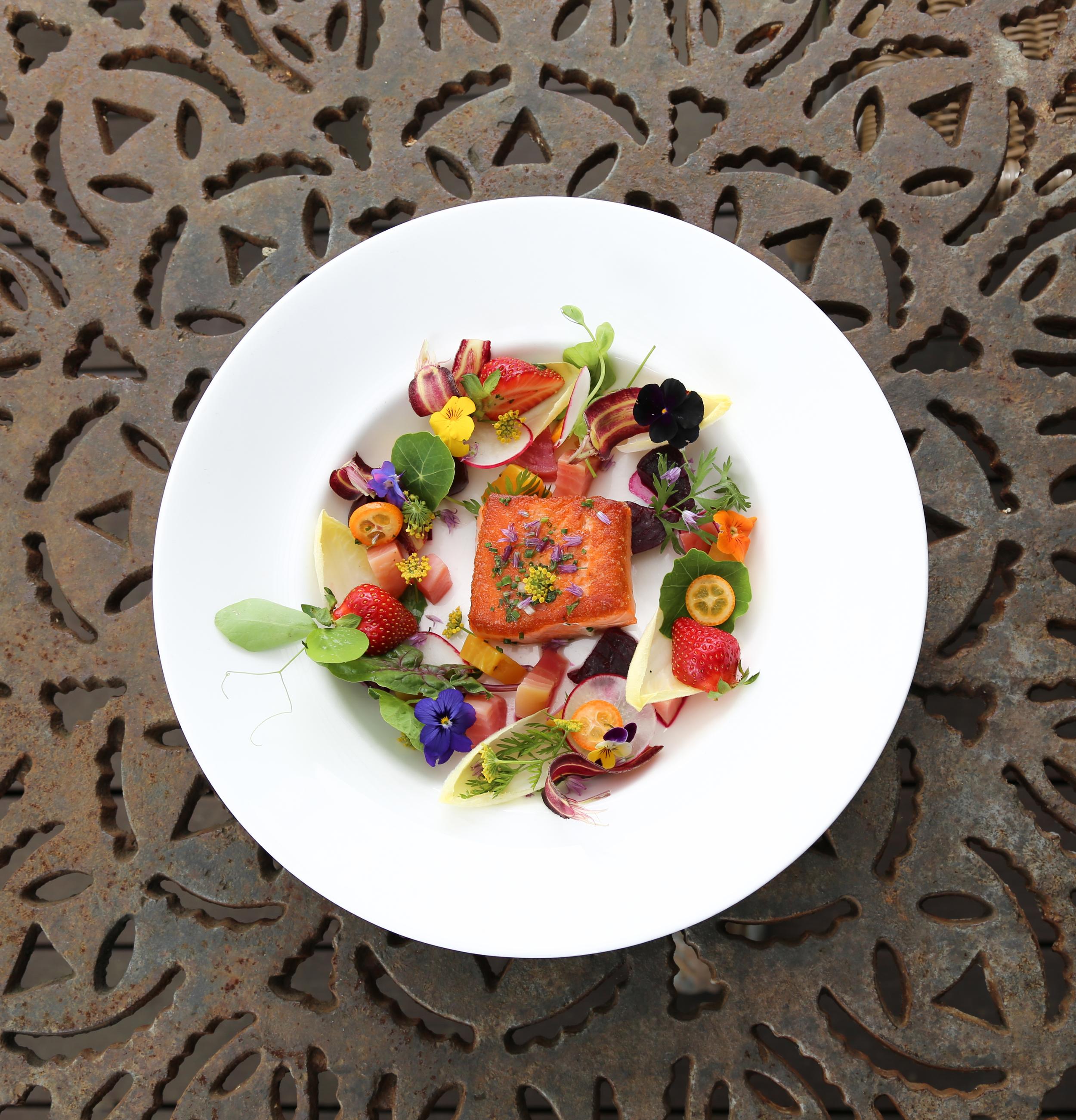 wild salmon, herbs and flowers - Barndiva