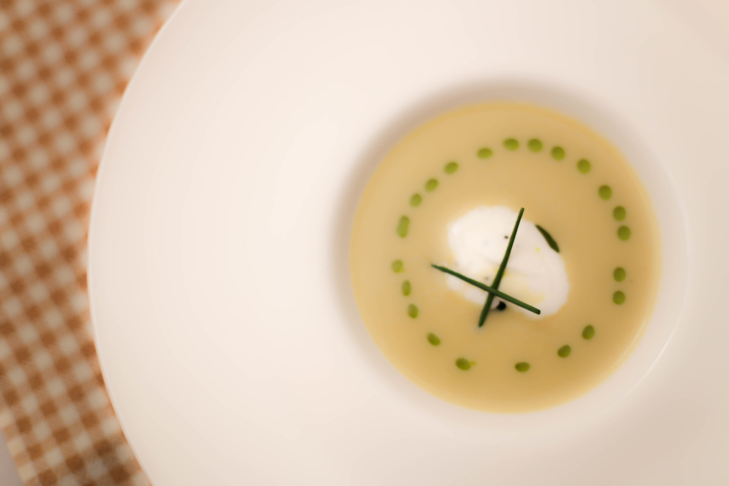 Warm Vichyssoise w/ Cavier Crème Fraîche along with   Brut Sous Bois NV