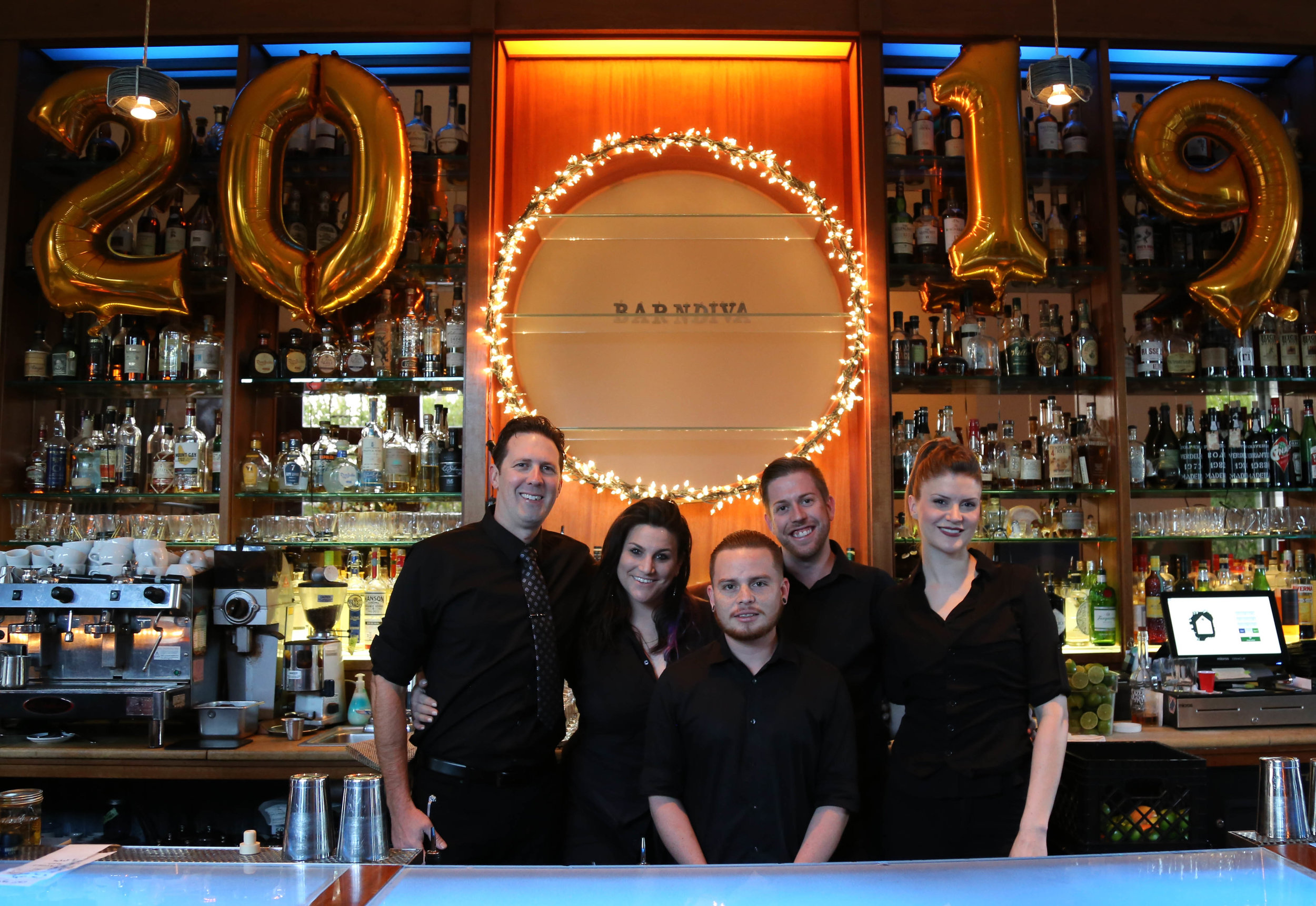The Bar Team: Shane, Isabel, Rojo, Andrew, Terra. Our winter cocktail list will appear when we re-open on Jan 9.