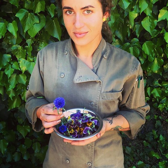 Our pastry whisperer Shae, in the gardens. Viola Tricolor are also know as heart's ease. indeed. 😘👩🏻‍🍳🥧🧁🍰🍧🍨🍡🍢🥮🍮🍩 #barndiva #inthekitchennow  #edibleflowers #eattheview #pastrychef #winecountry #healdsburg