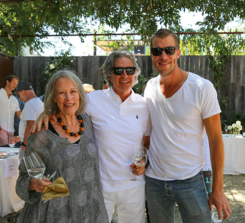 Yes, Healdsburg is changing, we got the memo, but some community roots still run strong and deep: the woman on the left (the indomitable Susan Preston of Preston Farm and Winery) knew the young man on the right (Sam Bilbro of Idlewild Wines) when he was only a bump in the tummy and a gleam in his mum's eye. The gentleman in the middle is Barndiva's Geoffrey Hales. One of the great things about our fêtes is the chance to see old friends, and make new ones. This is a community driven event.