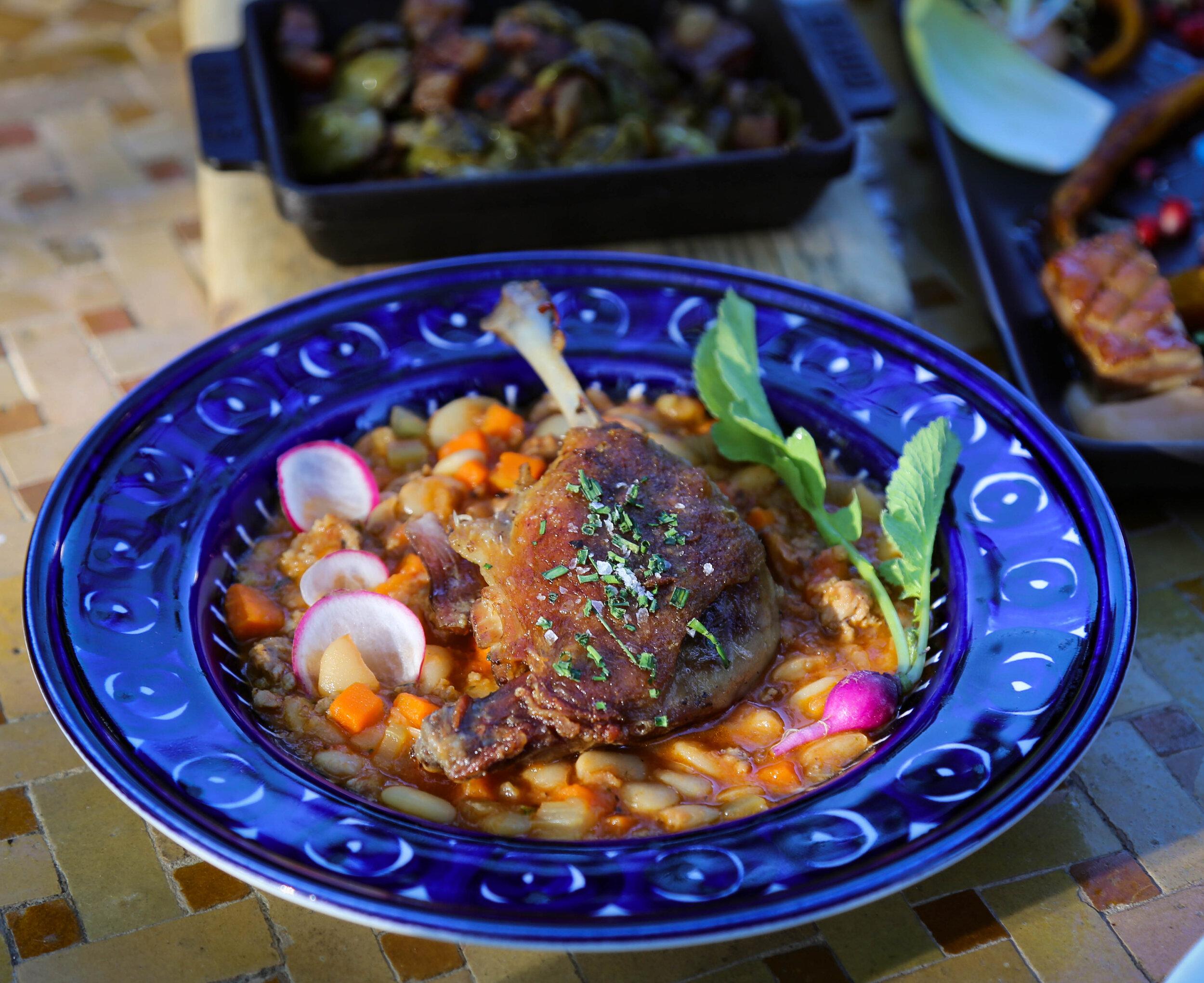 Duck leg cassoulet, cannellini beans, sweet onions, breadcrumbs, Toulouse pork sausage