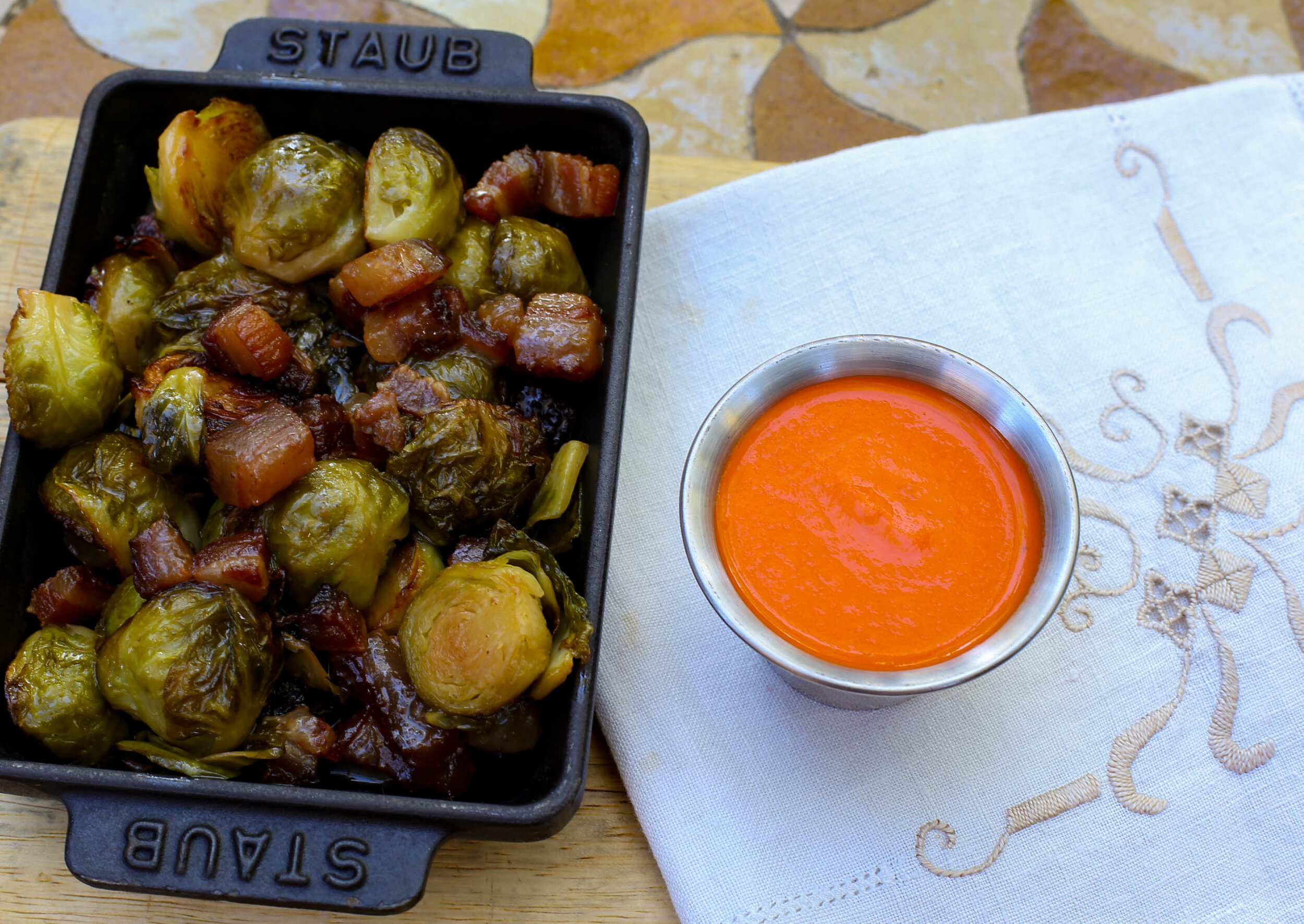 Smoked brussels sprouts, bacon lardons, piquillo dipping sauce