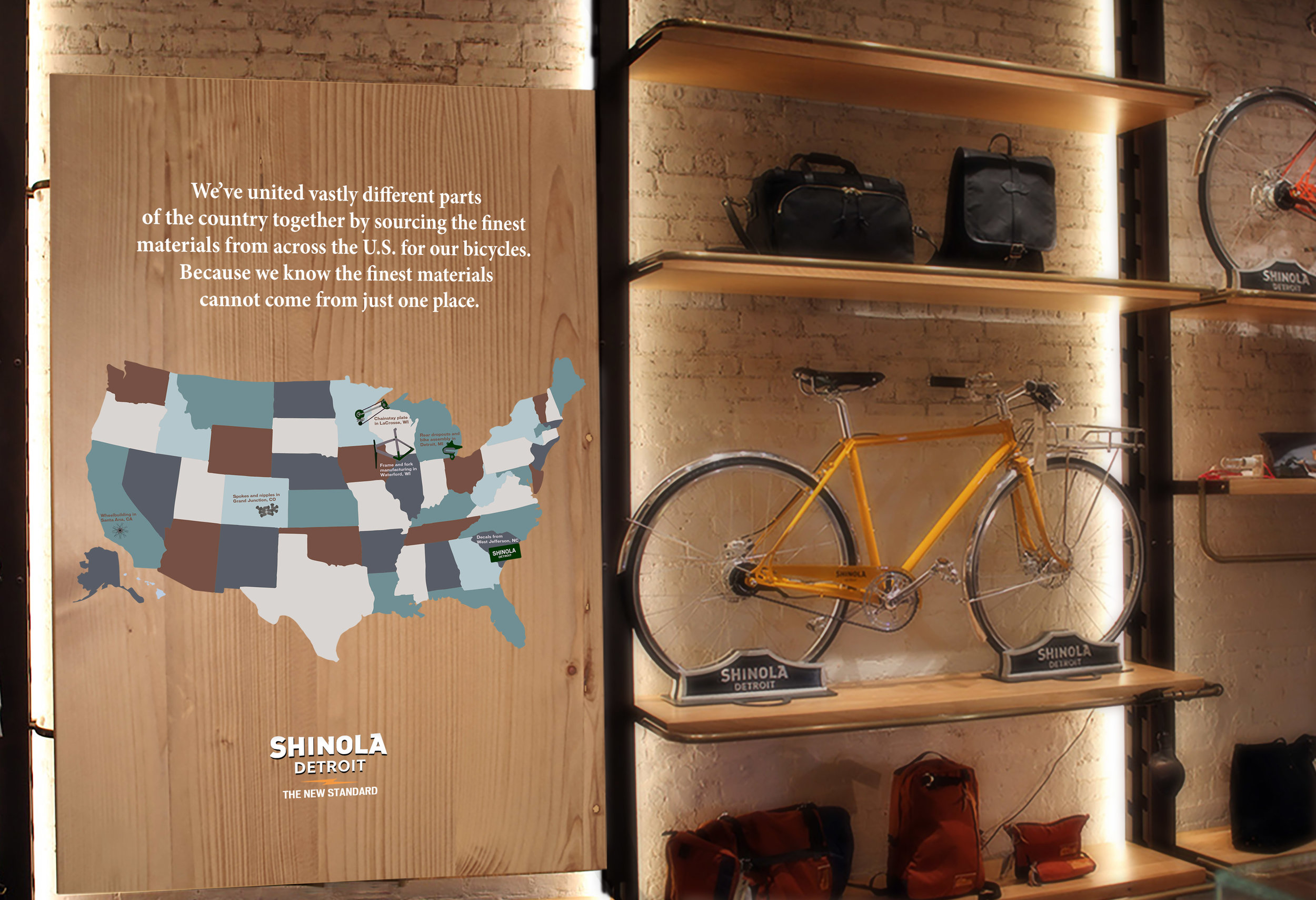 Shinola sources its materials from the best crafters in five different states and then assembles the bikes in Detroit. Hand-painted mural in stores showing the parts that make up a Shinola and from where they derived.