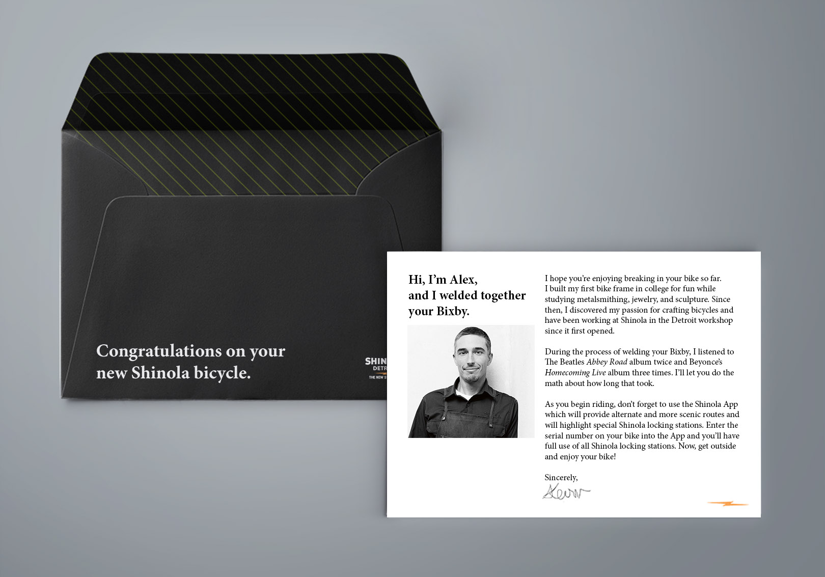 Shinola will mail a personalized message to each customer within a week after they purchase a Shinola bike.