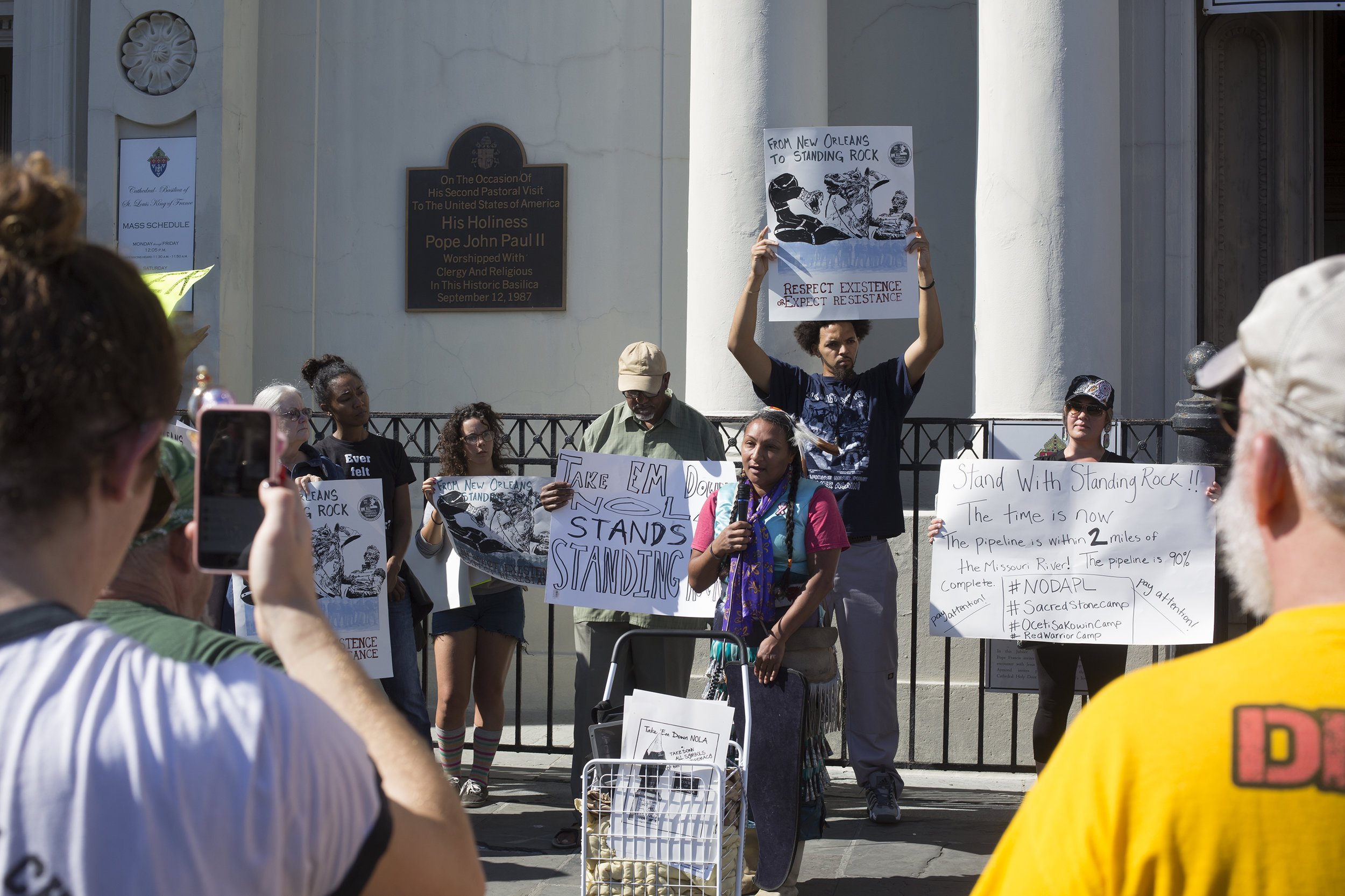 Protesters gathered at St. Louis Cathedral in solidarity with Standing Rock Indian Reservation, who are trying to fight off a pipeline being drilled on their scared grounds.
