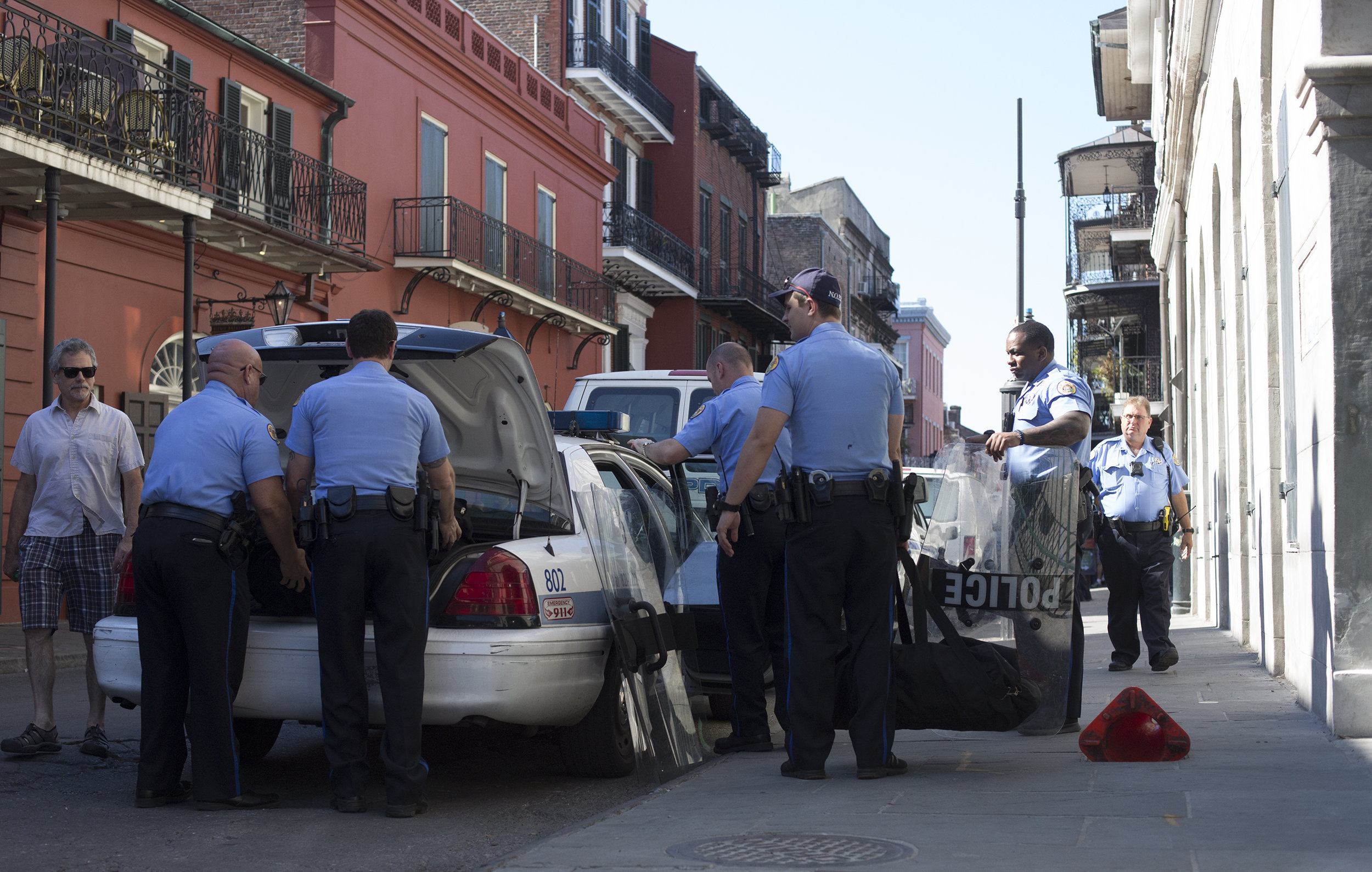 Members of the New Orleans Police Department, packing up riot gear after the Take 'Em Down NOLA protested concluded.
