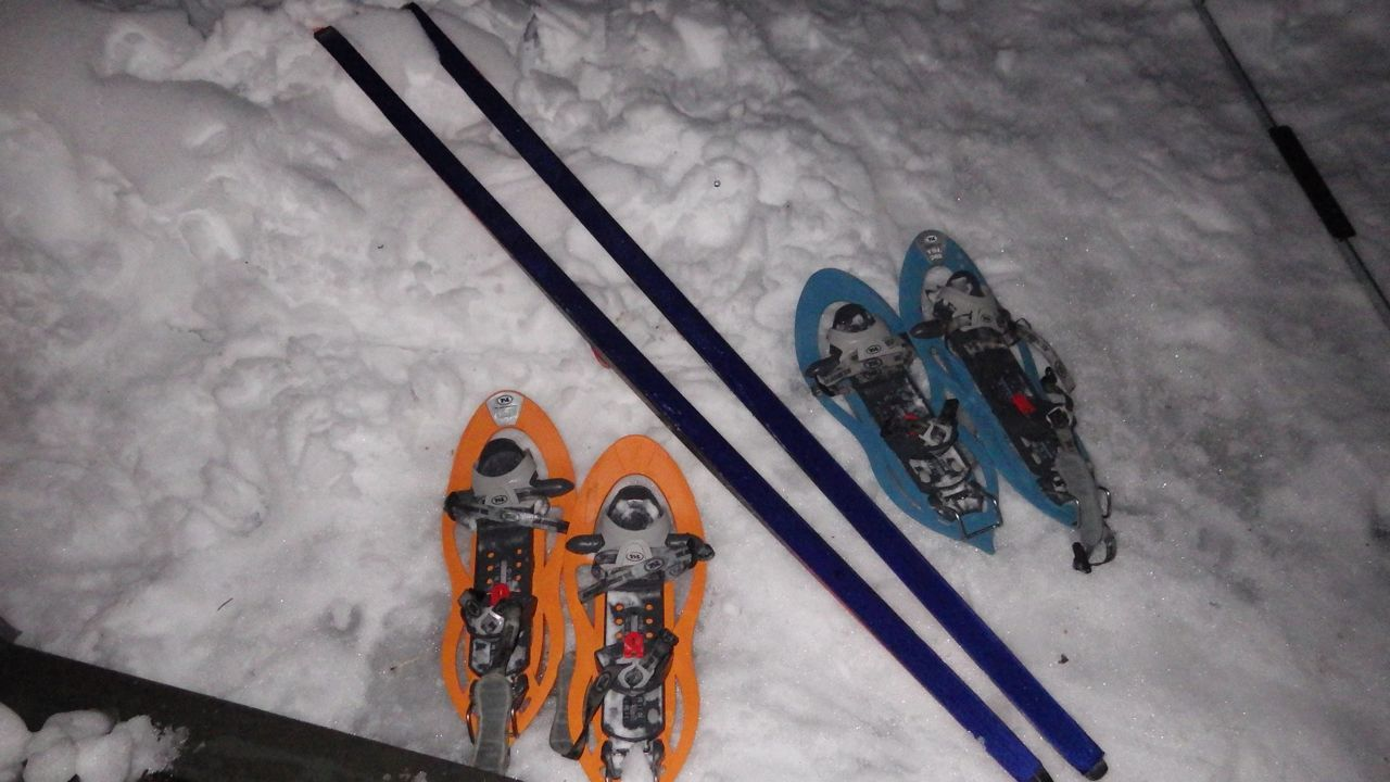 Climbing equipment for 3 persons out of 9, the rest of us needed to manage somehow, crawling in the snow. You can barely see the blue skin on the bottom of the skis.