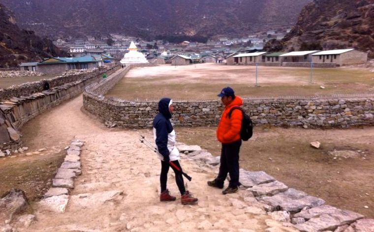 Johanna with Mingma in Khumjung, on a day-hike for acclimatization. Pasang was already at base-camp, organizing.