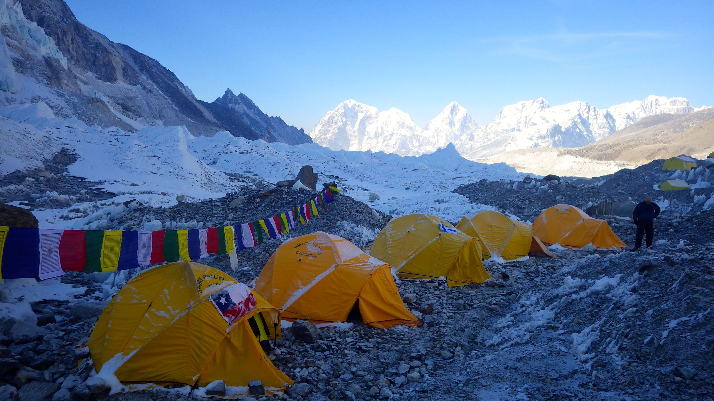 Our tents up in Everest Base Camp, Mine is the third, with the Finnish flag.