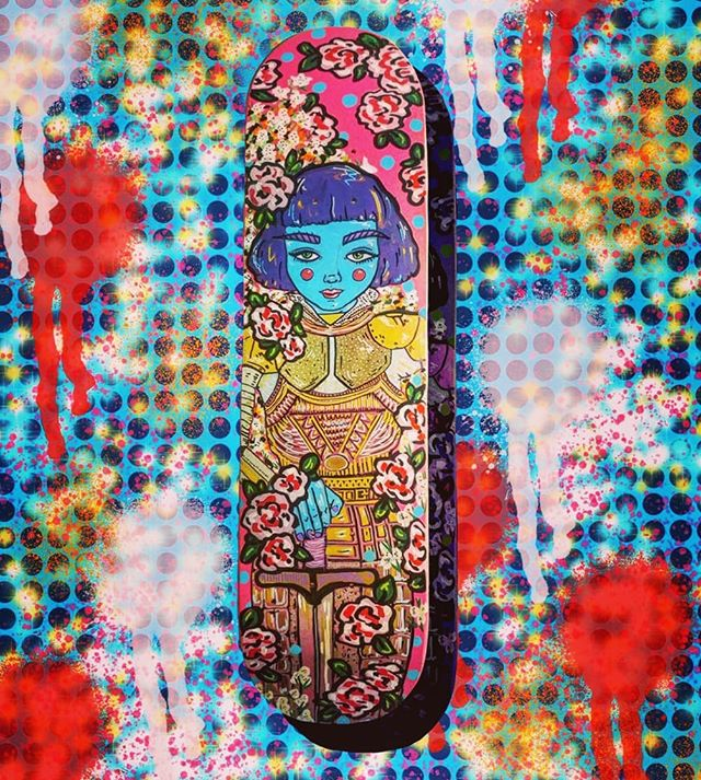 My latest custom painted skate deck that will be auctioned off @stratton_mountain_school Winter Ball  to raise scholarship funds for future Olympians. Painted is Joan of Arc, one of my favorite heroes in history. A badass feminist. Throwing in a little history note: Joan went to my namesake city of Chinon to raise her army. Girls can do anything. . . . #girlswhoskate #skatergirl #skatedeck #skateart #urbanart #popart #joanofarc #chinon #chinonmaria #sokokistudios #girlswhopaint #makeartnotwar #flowerpower #flowergirl #femalewarrior #girlswhokickass #feminist #feminism #streetstyle #womenofhistory #roses #skateboard #strattonmountainschool #contemporaryart #girlpower