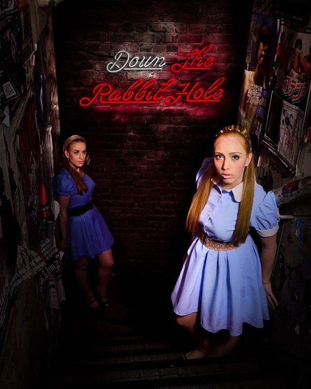 Down the rabbit hole. Here is my life style version of Alice.  #alice #aliceinwonderland #night #nightphotography #girl #girls #bluedress #red #neon #neonlights #rabbit #rabbithole #downtherabbithole #thearcanum #magicalarcanum #lifestyle #lifestylephotography #lifestylephotograph #redneon #bestoftheday #whiterabbit