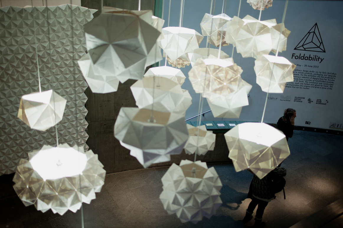 FOLDABILITY Origami lampshade exhibition architecture design gallery 3