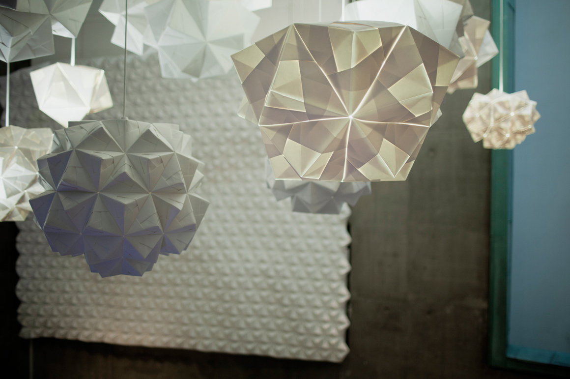 FOLDABILITY Origami lampshade exhibition architecture design gallery 2