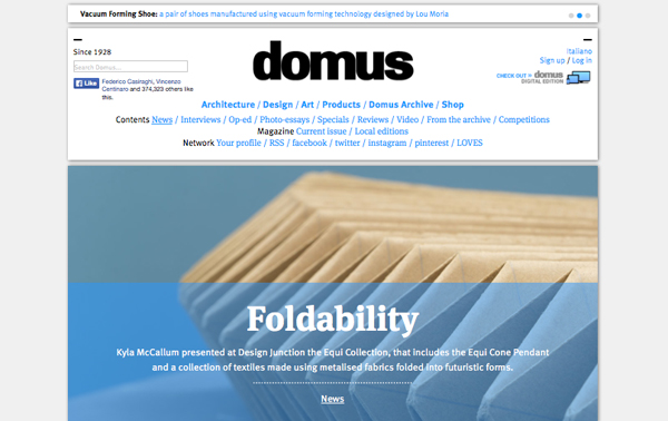Pleating origami collection on domus web
