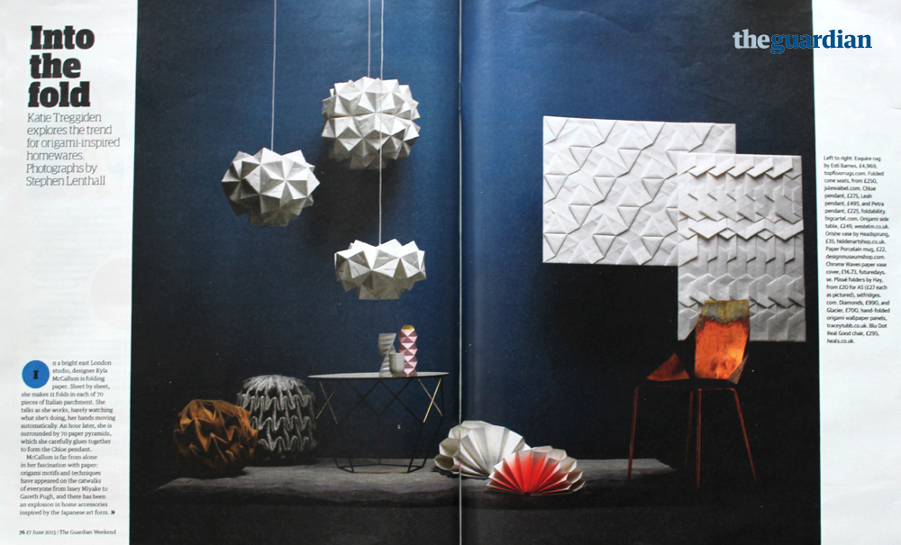 Origami Lampshades in the Guardian Weekend
