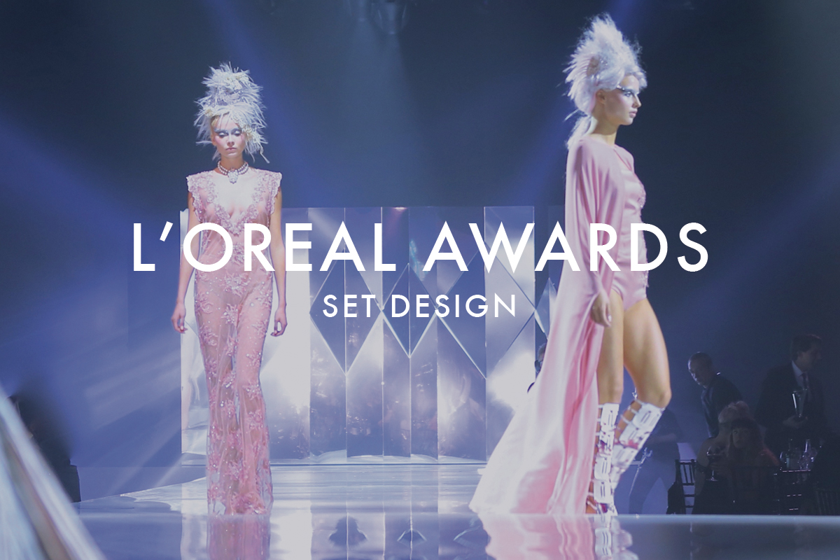 Origami set design for loreal