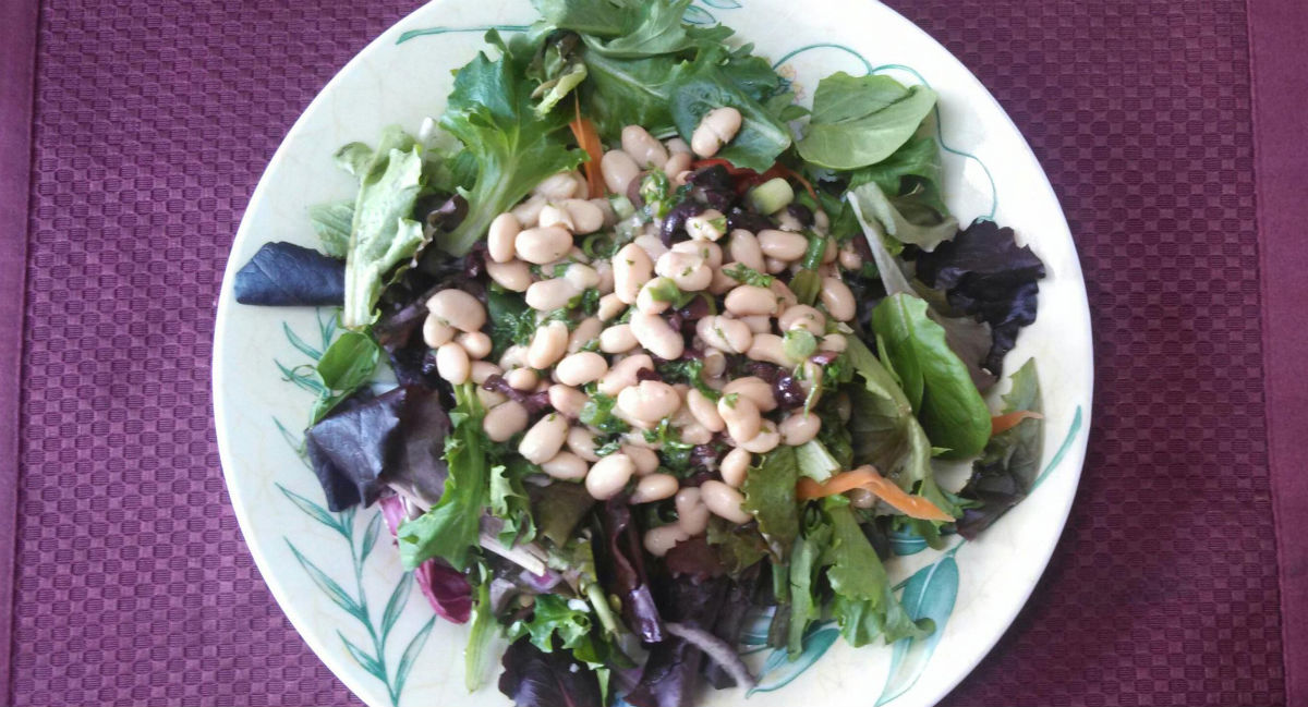 White Beans on a Bed of Greens -- Kathie Madonna Swift