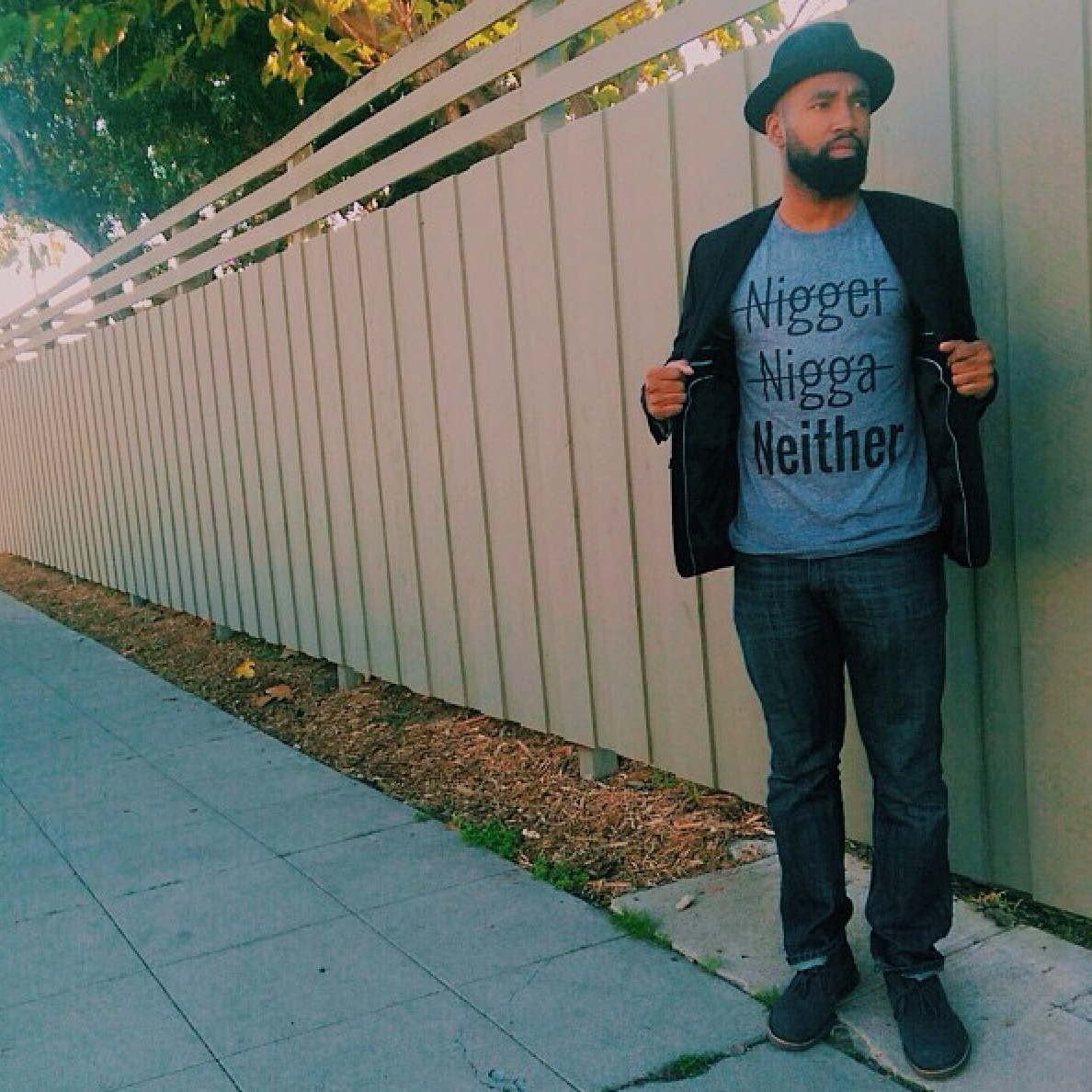 Author D.Banks wearing Neither T-Shirt
