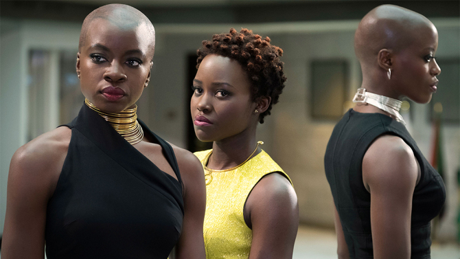 Danai Gurira left Lupita Nyong'o center and Florence Kasumba right