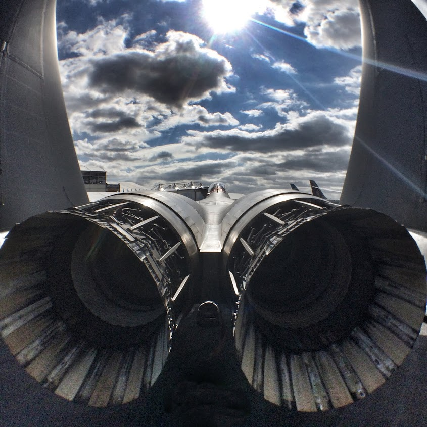 F18 turbines captured by Paul Deach using an iPhone 5S mounted on a Shoulderod S1 rig at the end of a monopod.