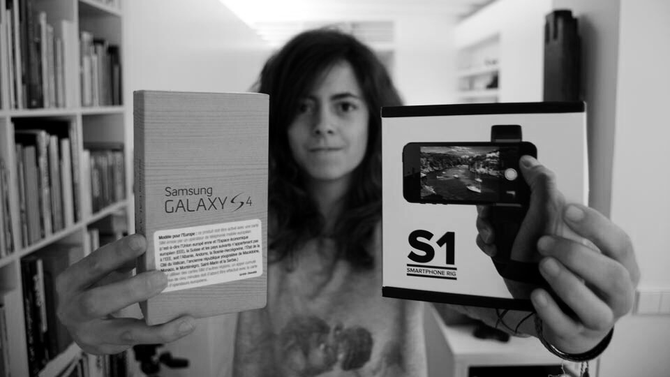 Ana Prado with her brand new Samsung Galaxy S4 and her Shoulderpod S1 smartphone rig and tripod mount.
