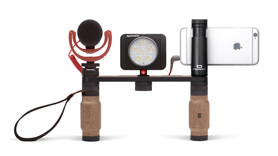 Shoulderpod X1 rig for iPhone external microphone light