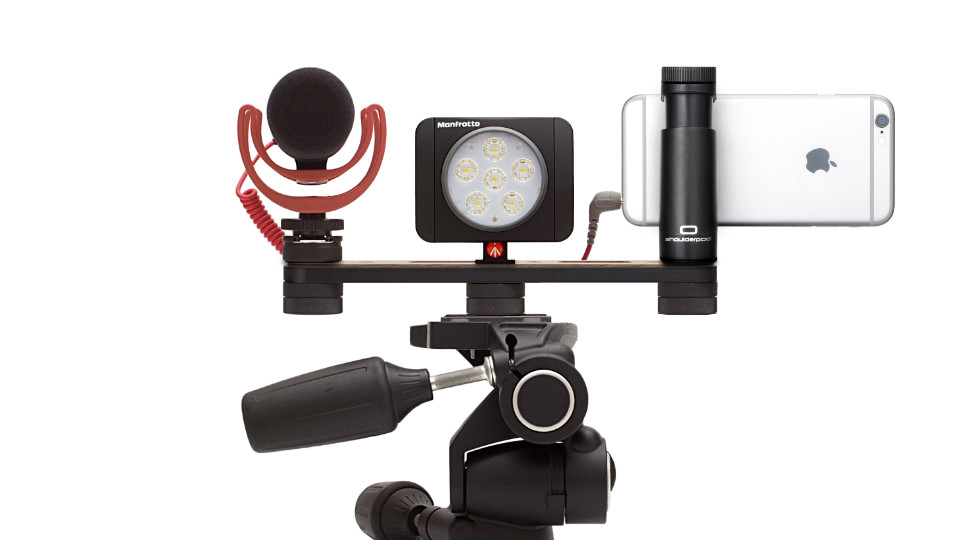 iphone tripod mount adapter with light and microphone rig