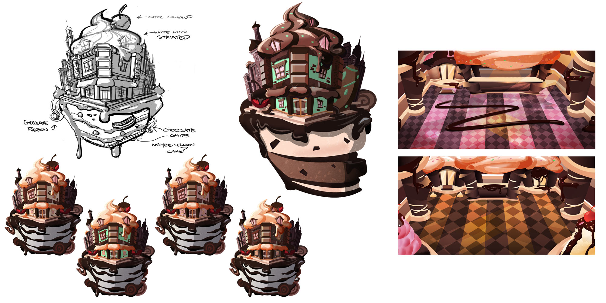 Concepts for the chocolate themed venue.