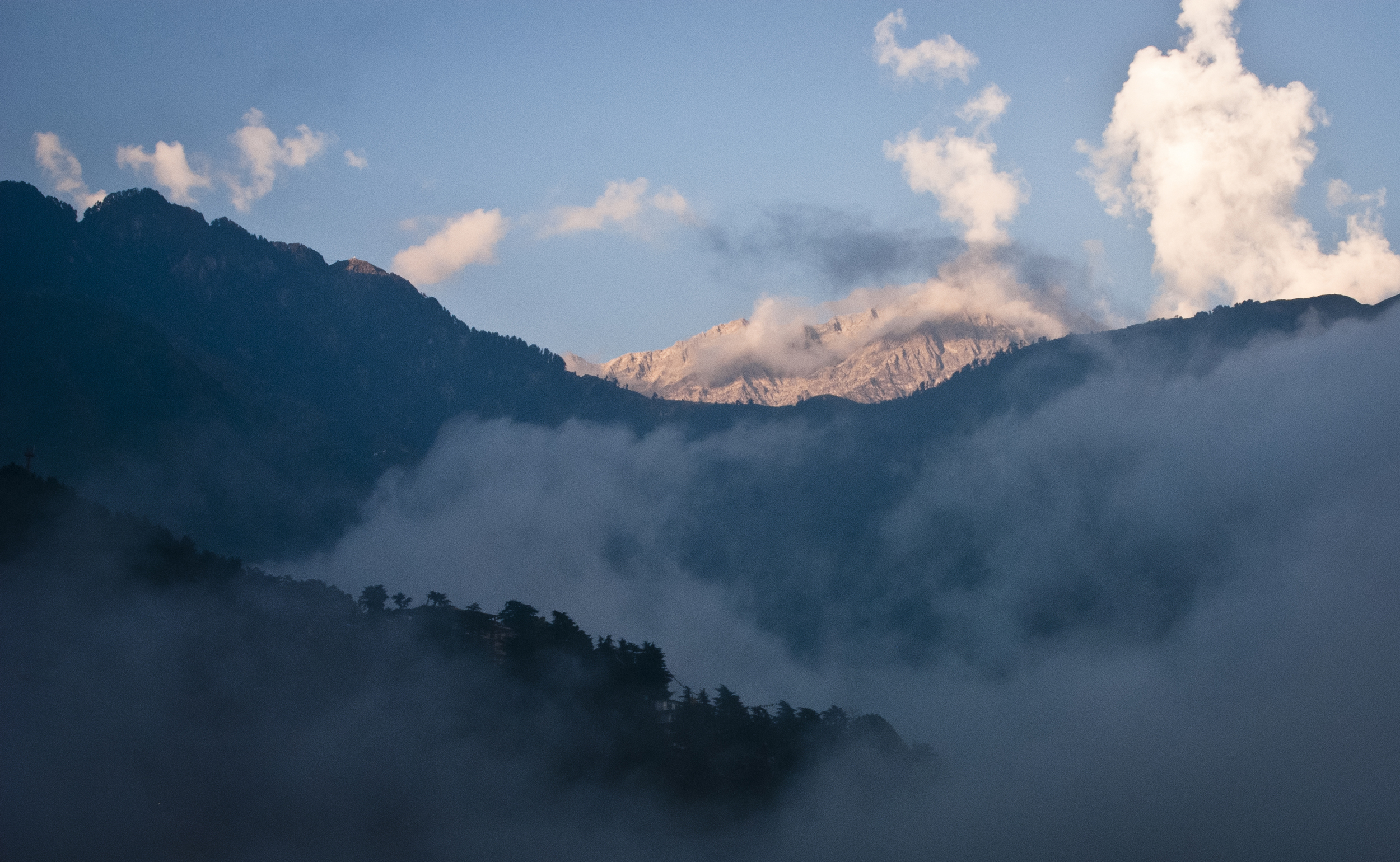 The Himalaya's peaked out behind the Dhauladhar Range, warmed by the sun.