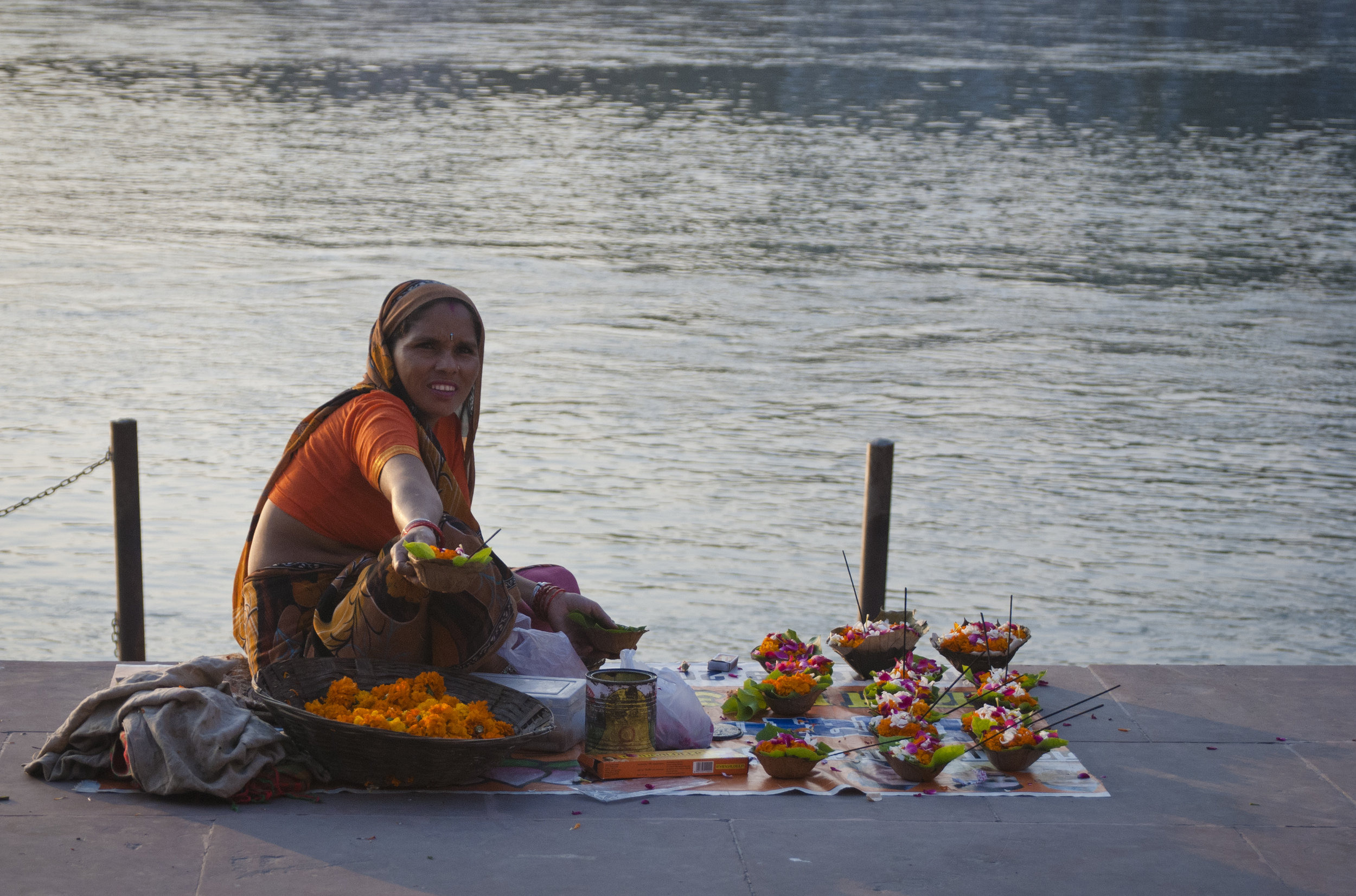 Lanterns are made and sold along the river to release into the Ganges as the sun sets.