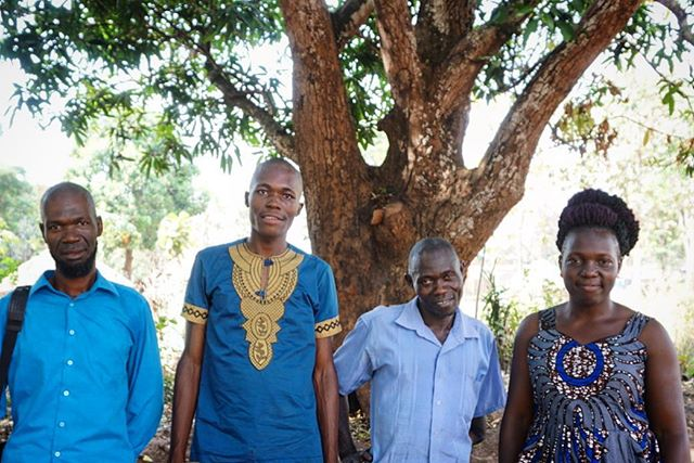 William, Nelson, Peter, and Christine stand under the mango tree where they host support groups for people affected by sexual and gender based violence at the Rimenze IDP camp in South Sudan.  The majority of the staff are residents of the IDP camp and fled their homes two years ago as a result of insecurity and violence in the area. They work tirelessly to meet the psychosocial needs of their community under the supervision of Christine who is getting her BSW at the local university in #Yambio.  What an amazing team here and I'm so lucky to have had the opportunity to work with them and learn from them this past week!