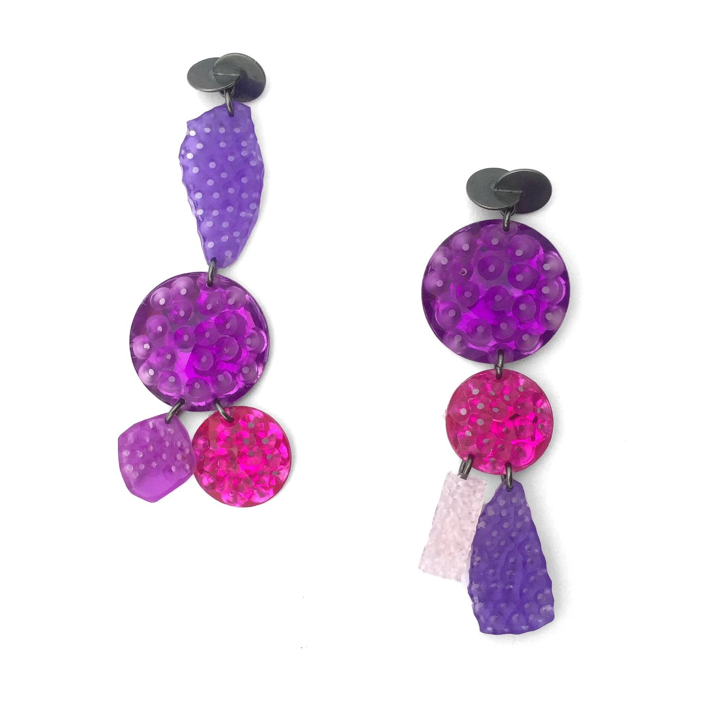 Purple Tumble  ; Oxidized silver, acrylic, altered plastic gems