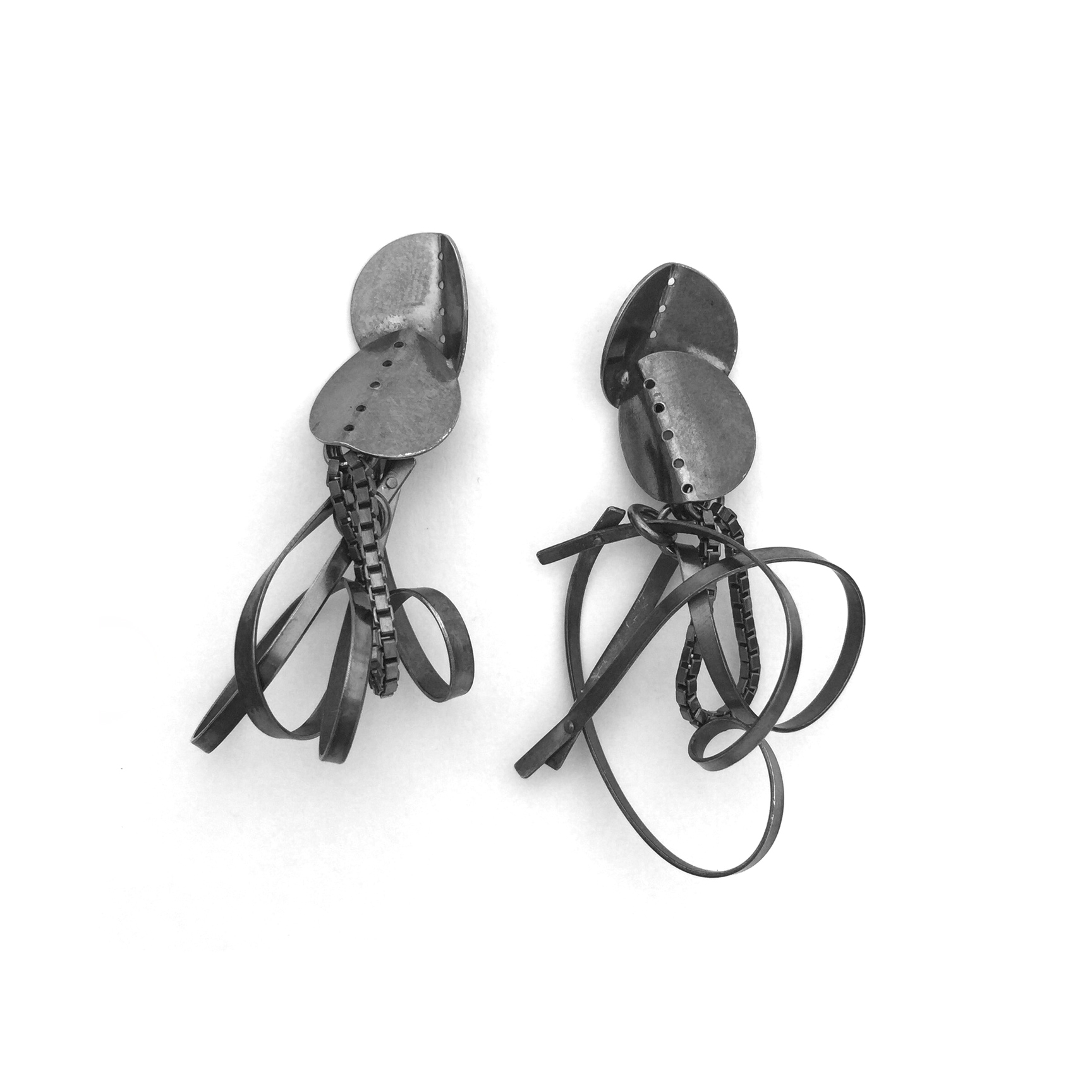 Double Folded Ribbon & Chain  ; Oxidized silver